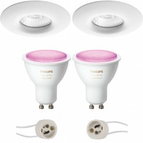 PHILIPS HUE - LED Spot Set GU10 - White and Color Ambiance - Bluetooth - Pragmi Luno Pro - Waterdicht IP65 - Inbouw Rond - Mat Wit - Ø82mm