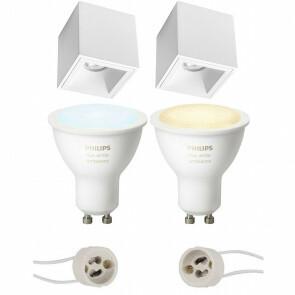 PHILIPS HUE - Opbouwspot Set GU10 - White Ambiance - Bluetooth - Pragmi Cliron Pro - Opbouw Vierkant - Mat Wit - Verdiept - 90mm