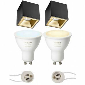 PHILIPS HUE - Opbouwspot Set GU10 - White Ambiance - Bluetooth - Pragmi Cliron Pro - Opbouw Vierkant - Mat Zwart/Goud - Verdiept - 90mm
