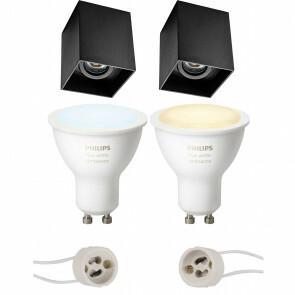 PHILIPS HUE - Opbouwspot Set GU10 - White Ambiance - Bluetooth - Pragmi Luxina Pro - Opbouw Vierkant - Mat Zwart - Verdiept - Kantelbaar - 90mm