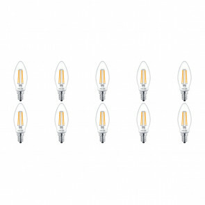 PHILIPS - LED Lamp Filament 10 Pack - Classic LEDCandle 827 B35 CL - E14 Fitting - Dimbaar - 5W - Warm Wit 2700K | Vervangt 40W