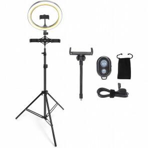 Ringlamp met Statief - Aigi Rongy - Bluetooth - Microfoon - Afstandsbediening - Dimbaar - CCT Aanpasbare Kleur - Zwart