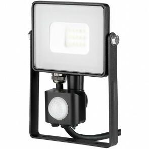 SAMSUNG - LED Bouwlamp 10 Watt met sensor - LED Schijnwerper - Viron Dana - Warm Wit 3000K - Spatwaterdicht IP44 - Mat Zwart - Aluminium