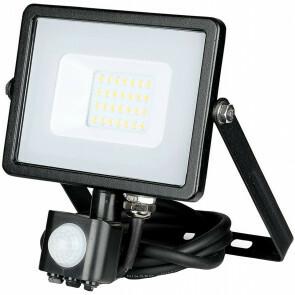 SAMSUNG - LED Bouwlamp 20 Watt met sensor - LED Schijnwerper - Viron Dana - Warm Wit 3000K - Spatwaterdicht IP44 - Mat Zwart - Aluminium