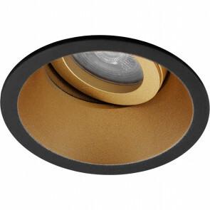 Spot Armatuur GU10 - Pragmi Zano Pro - Inbouw Rond - Mat Zwart/Goud - Aluminium - Kantelbaar - Ø93mm