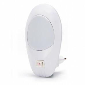 Stekkerlamp Lamp - Stekkerspot met Aan/Uit Schakelaar - Aigi Woest XL - 1W - Helder/Koud Wit 6500K - Ovaal - Mat Wit - Kunststof