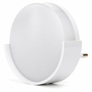 Stekkerlamp Lamp - Stekkerspot met Dag en Nacht Sensor - Aigi Sipas - 1W - Helder/Koud Wit 6500K - Rond - Mat Wit - Kunststof