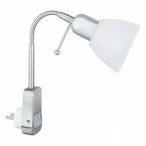 Stopcontact Lamp met Schakelaar - Rond - Mat Chroom - Aluminium - E14