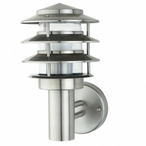 Tuinverlichting / Buitenverlichting / Buitenlamp / Wandlamp Kayo Rond Mat Chroom 27.5x15cm Modern RVS/PC E27 IP44