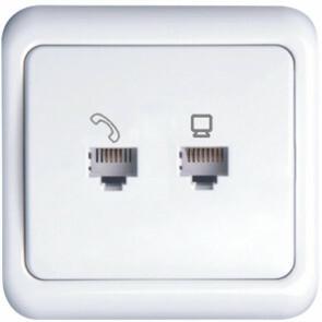 UTP RJ45 Stopcontact - Wandcontactdoos - Aigi Cuka - Inbouw - 1-voudig UTP CAT5E - 1-voudig Telefoon - Incl. Afdekraam - Wit