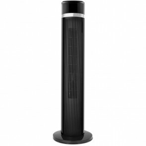 Ventilator - Aigi Lyno - 35W - Tafelventilator - Staand - Rond - Mat Zwart - Kunststof