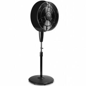 Ventilator met Water - Aigi Bruno - Mistventilator voor Buiten - Statiefventilator - Staand - Rond - Mat Zwart - Kunststof