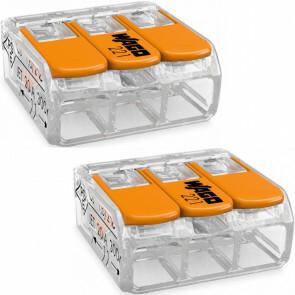 WAGO - Lasklem Set 2 Stuks - 3 Polig met Klemmetjes - Oranje