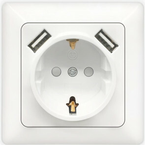 Wandcontactdoos - Aigi Cika - Inbouw - 1-voudig Stopcontact - 2-voudig USB Aansluiting - Randaarde - Incl. Afdekraam - Wit