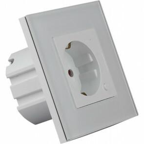 Wandcontactdoos Smart WiFi - Viron Wimo - Inbouw - 1-voudig - Randaarde - Incl. Glazen Afdekraam - Wit