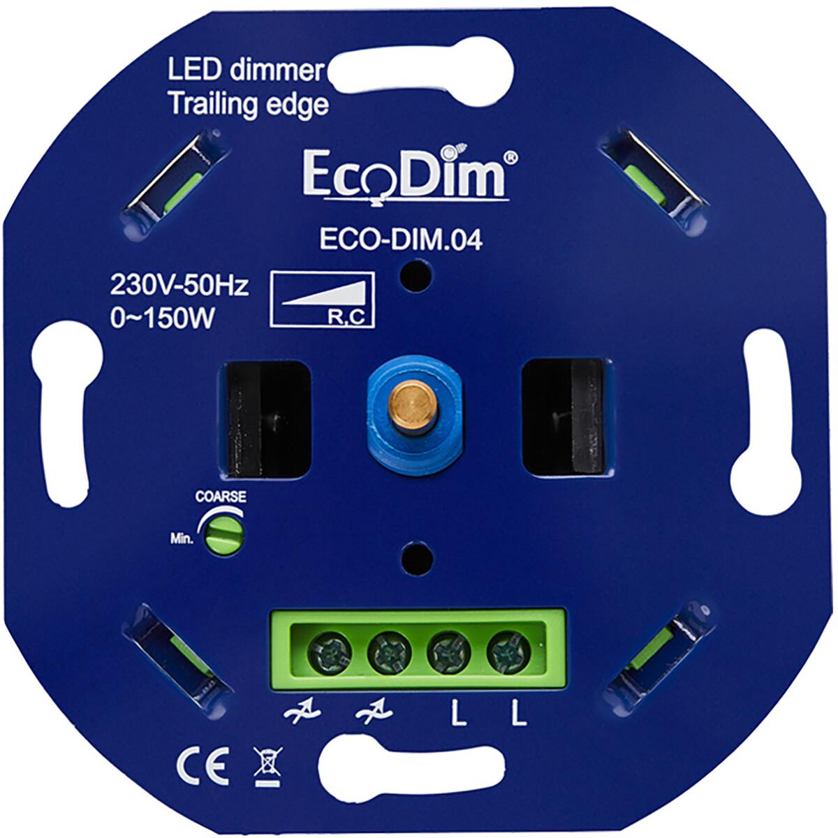 EcoDim - LED Dimmer - ECO-DIM.04 - Fase Afsnijding RC - Inbouw - Enkel Knop - 0-150W