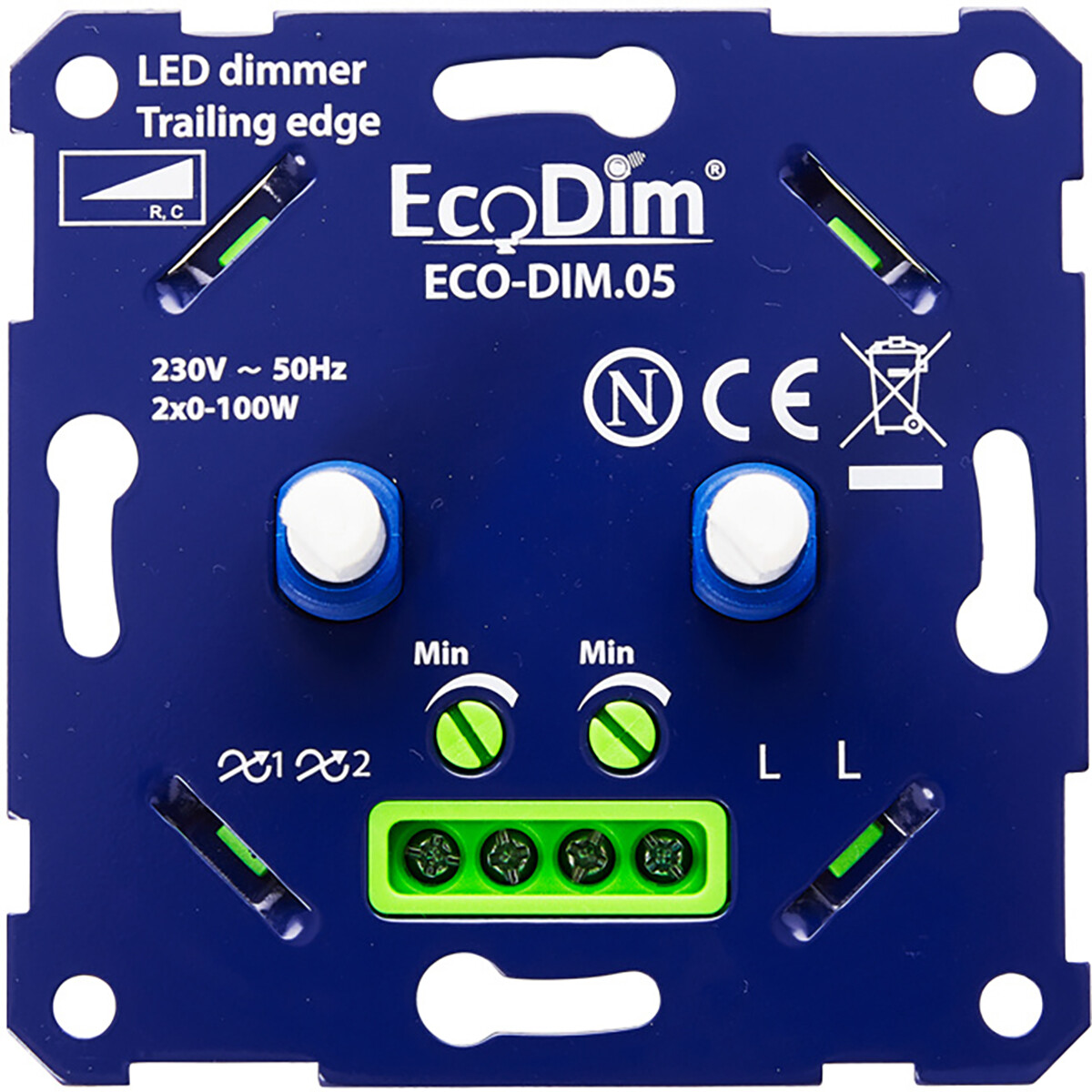 EcoDim - LED DUO Dimmer - ECO-DIM.05 - Fase Afsnijding RC - Dubbele Inbouwdimmer - Dubbel Knop - 0-1