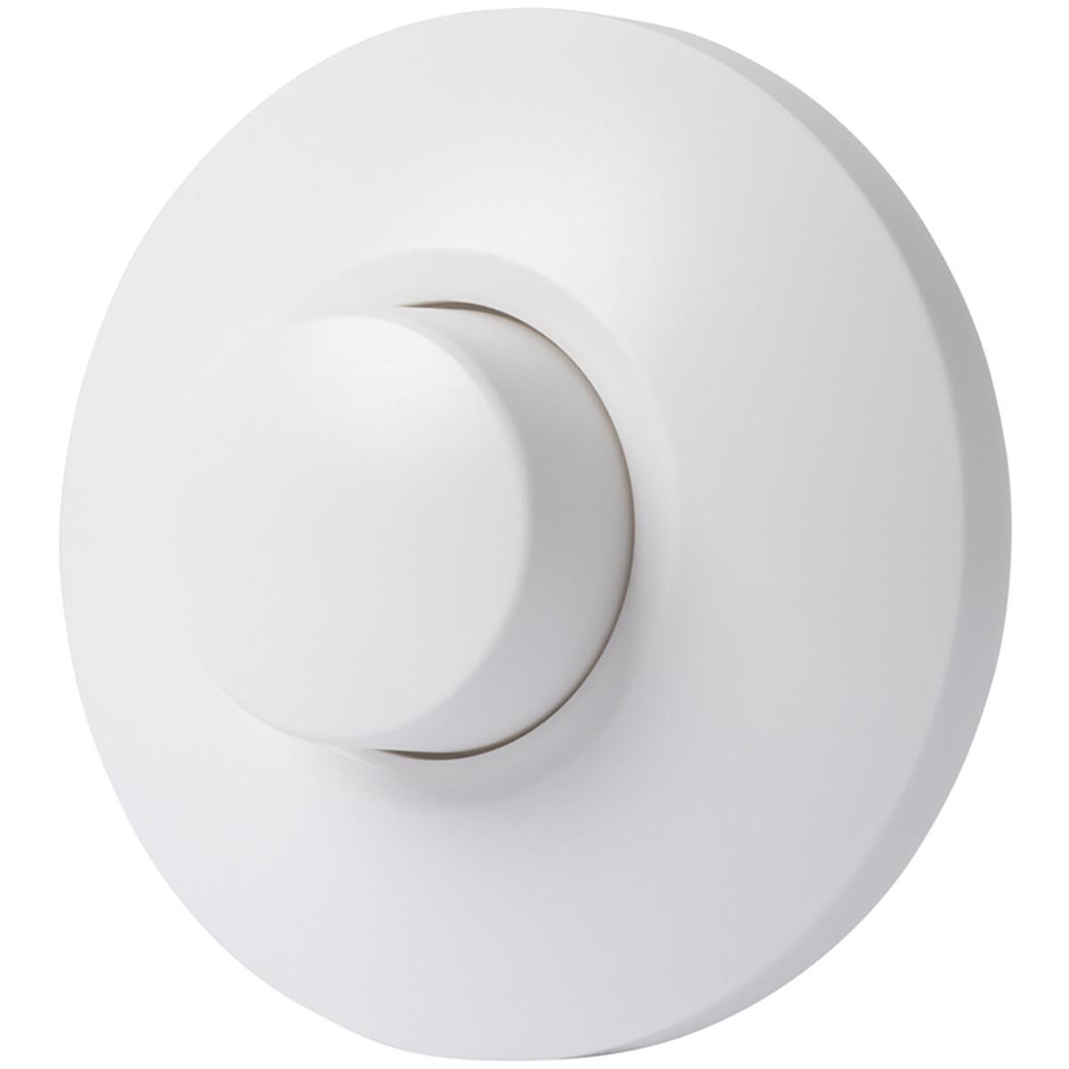 EcoDim - LED Vloerdimmer - ECO-DIM.09 - Fase Afsnijding RC - Enkel Knop - 0-50W - Rond - Mat Wit