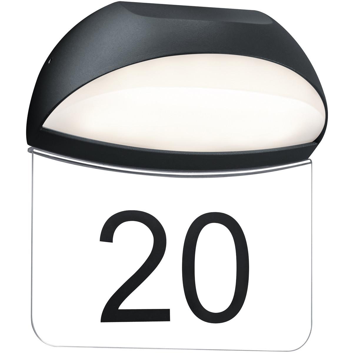Huisnummer Verlichting - Trion Magona - 5W - Warm Wit 3000K - Mat Zwart - Aluminium