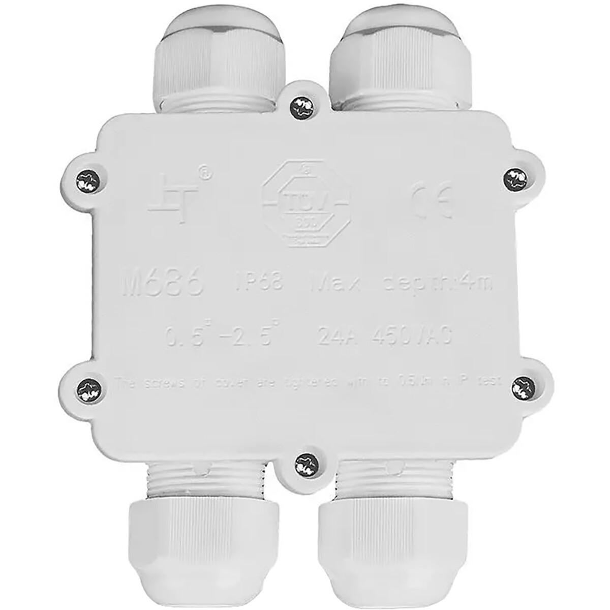 Kabelverbinder - Viron Thermy - Rechte 4-voudig Connector - Waterdicht IP68 - Mat Wit