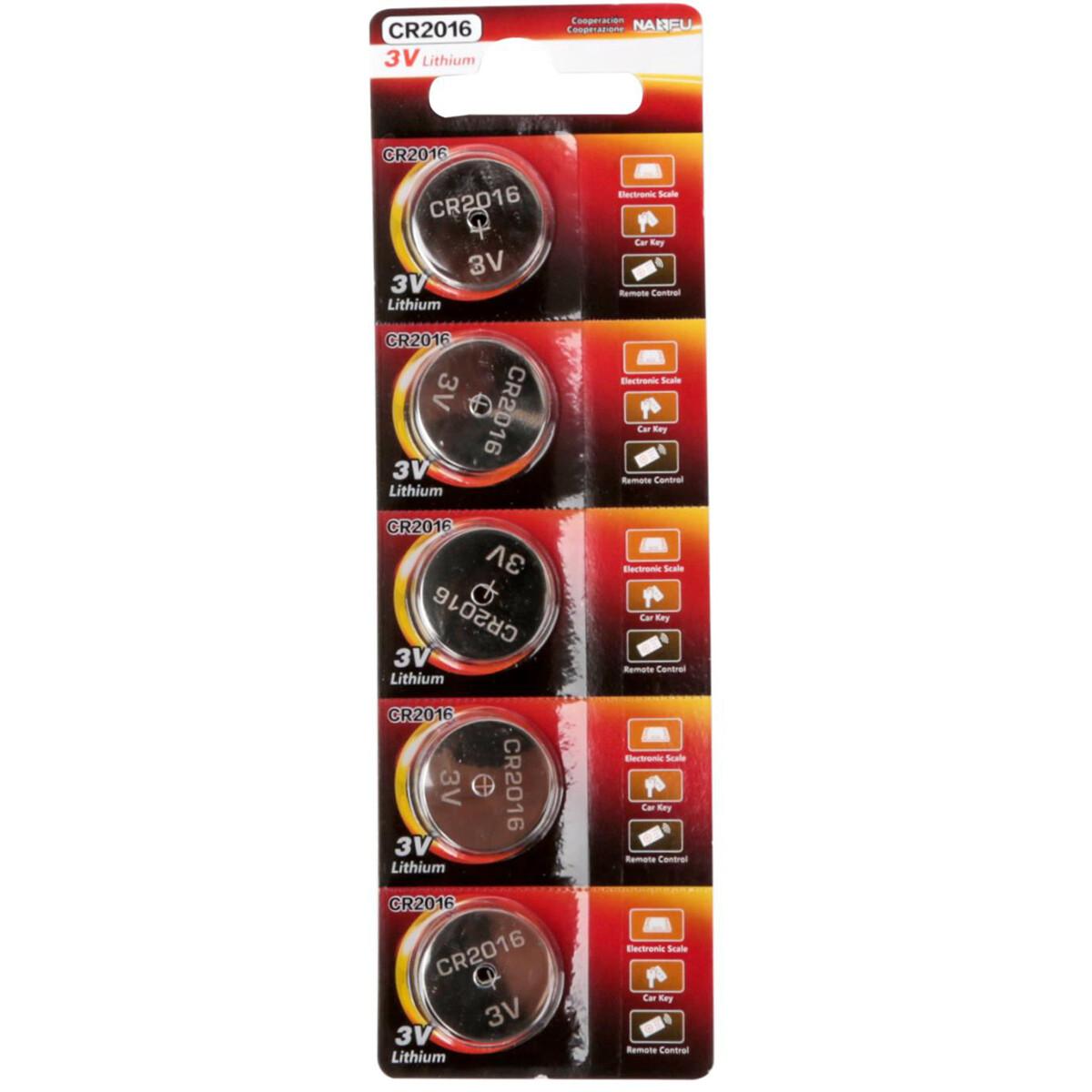 Knoopcel Batterij - Aigi Vitro - CR2016 - 3V - Lithium Batterijen - 5 Stuks