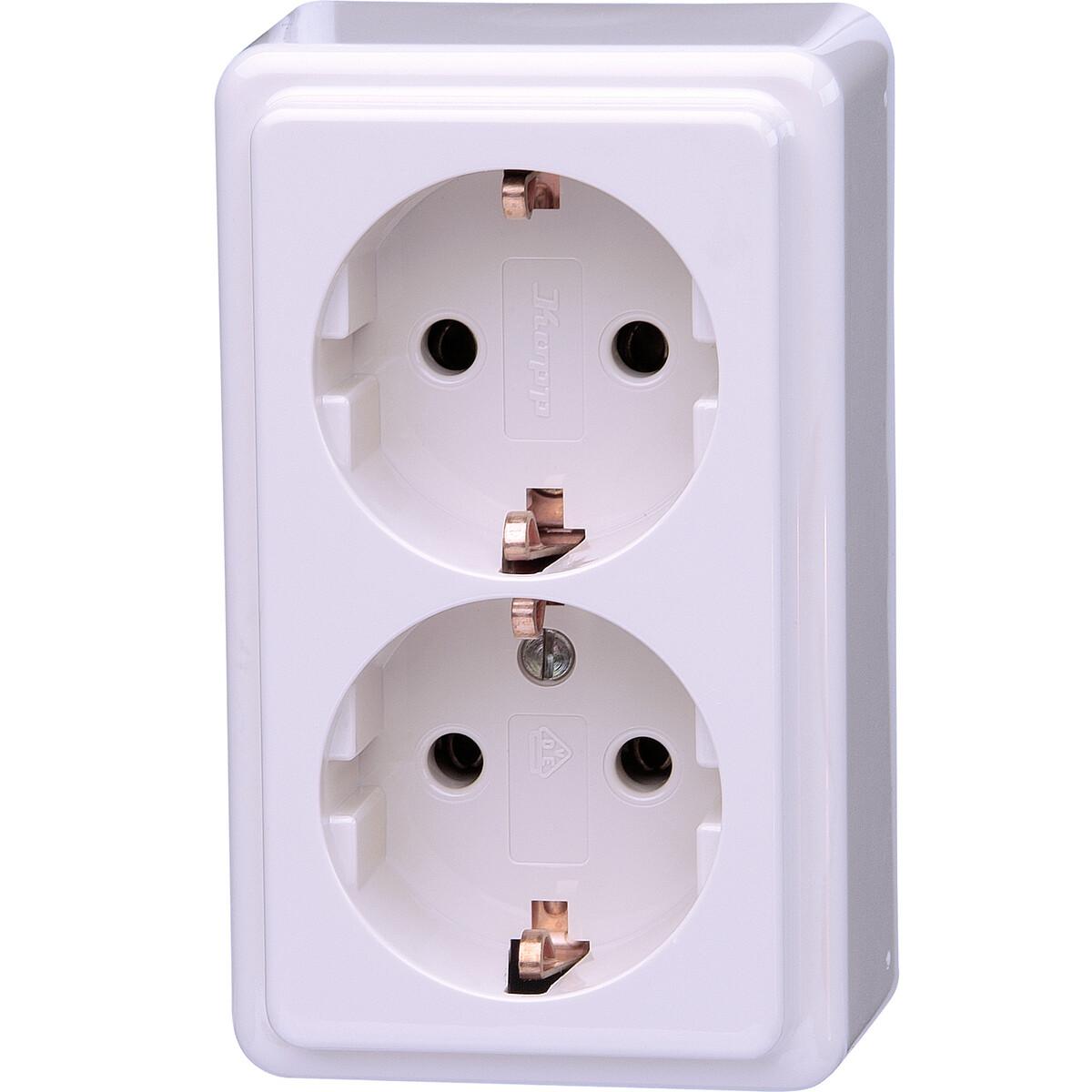 KOPP - Wandcontactdoos - Standard - Opbouw - Dubbel Stopcontact - Randaarde - Arctic Glans Wit
