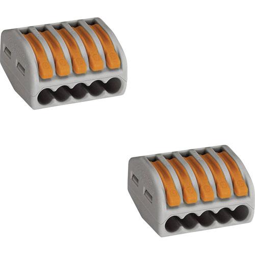 Lasklem Set 2 Stuks 5 Polig met Klemmetjes Grijs/Oranje