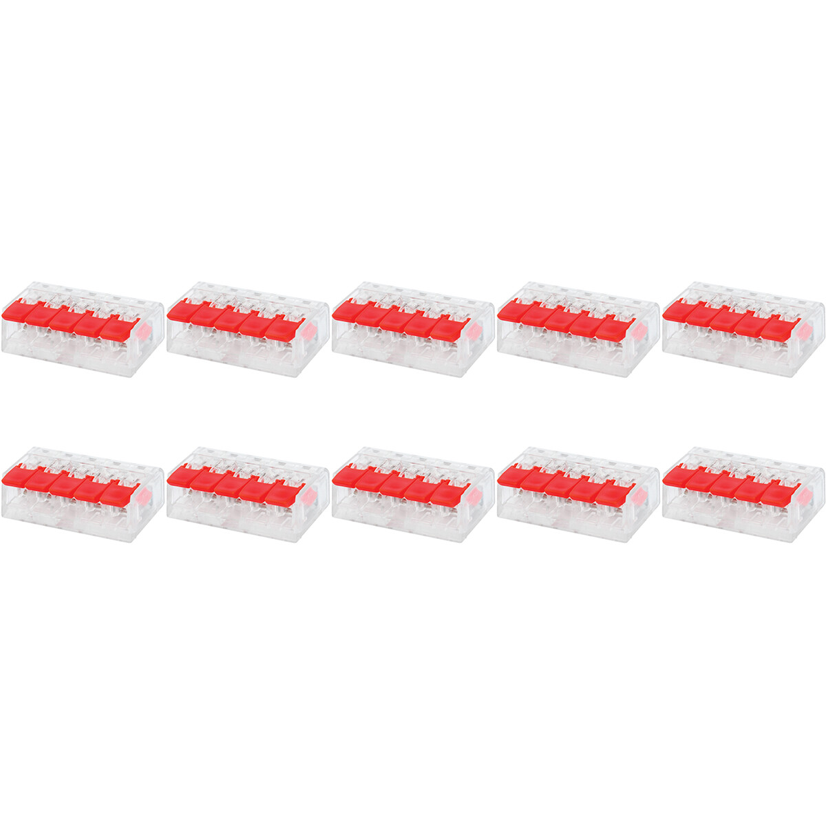 Lasklem Slim Set 10 Stuks - 5 Polig met Klemmetjes - Rood