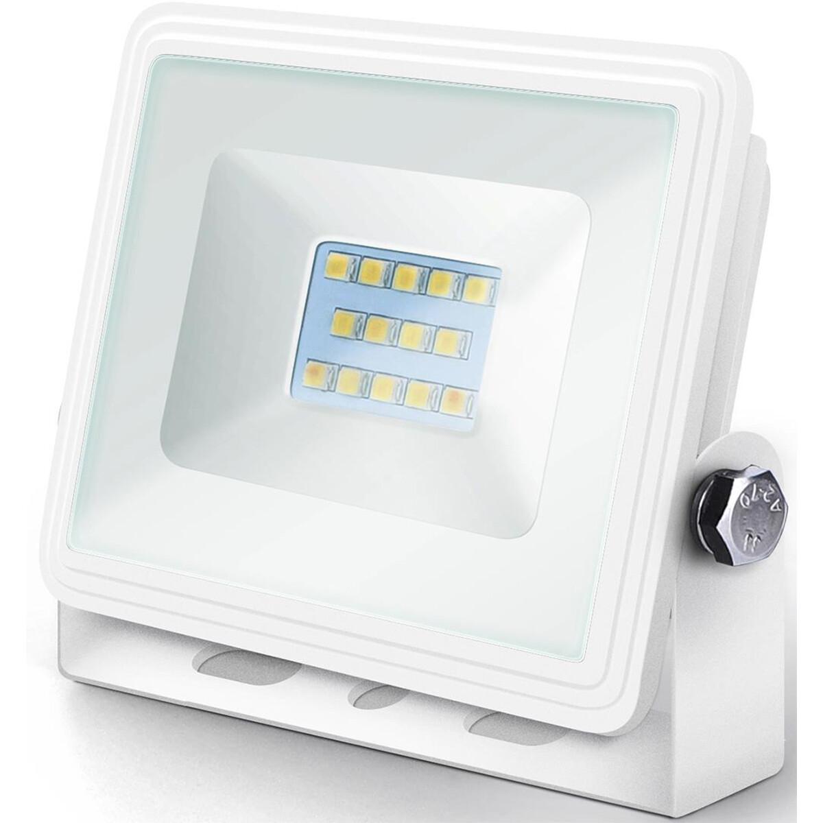 LED Bouwlamp 10 Watt - LED Schijnwerper - Aigi Iglo - Natuurlijk Wit 4000K - Waterdicht IP65 - Mat Wit - Aluminium
