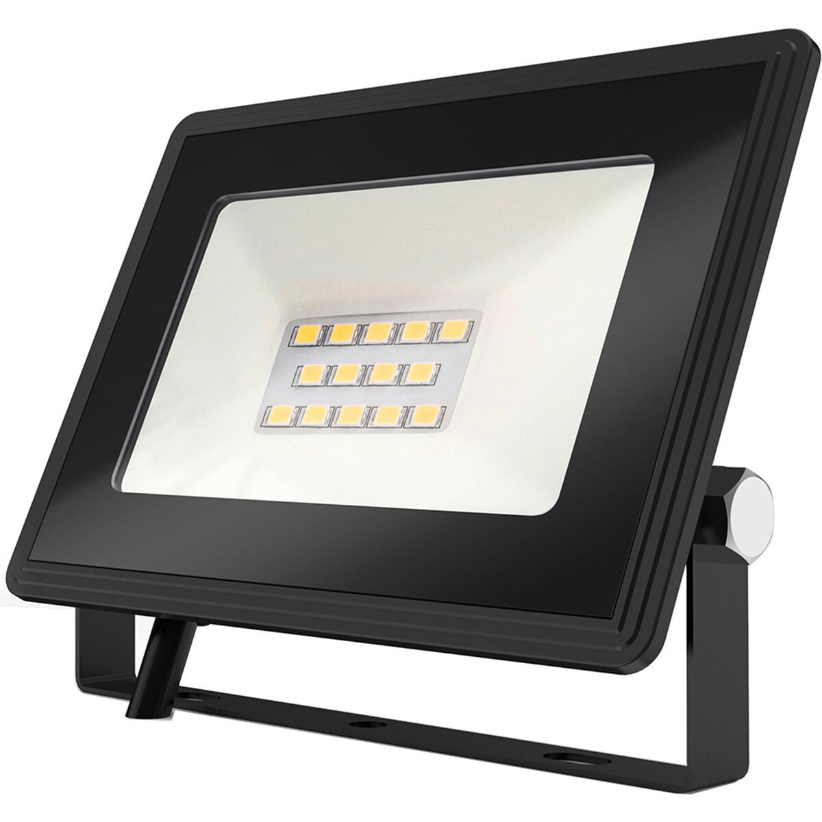 LED Bouwlamp 10 Watt - LED Schijnwerper - Aigi Iglo - Natuurlijk Wit 4000K - Waterdicht IP65 - Mat Zwart - Aluminium