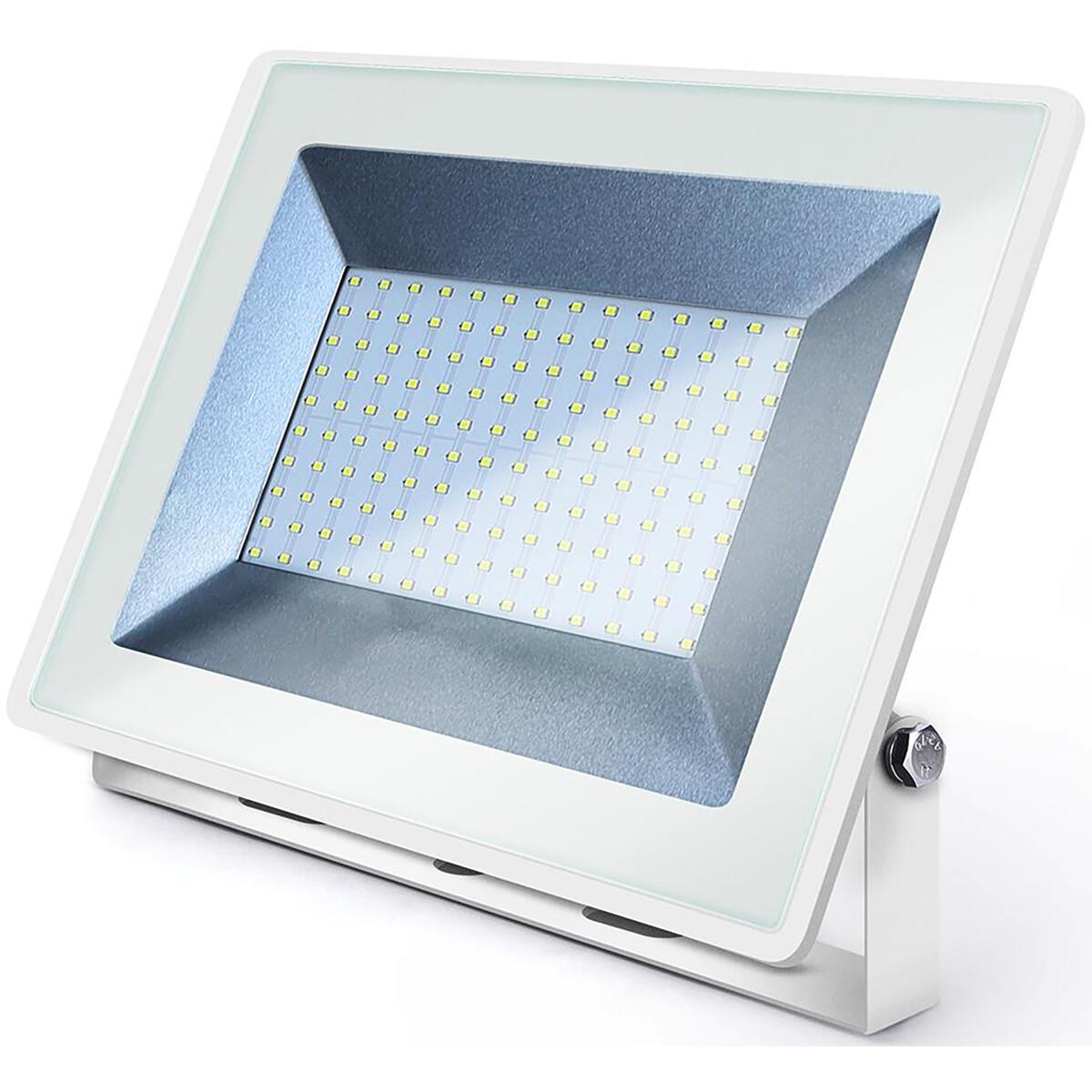 LED Bouwlamp 100 Watt - LED Schijnwerper - Aigi Iglo - Helder/Koud Wit 6400K - Waterdicht IP65 - Mat Wit - Aluminium