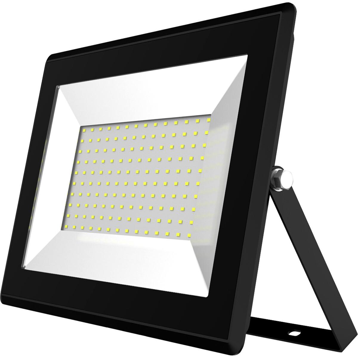 LED Bouwlamp 100 Watt - LED Schijnwerper - Aigi Iglo - Helder/Koud Wit 6400K - Waterdicht IP65 - Mat Zwart - Aluminium