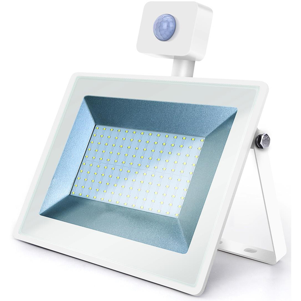 LED Bouwlamp 100 Watt met Sensor - LED Schijnwerper - Aigi Sunny - Helder/Koud Wit 6400K - Waterdich