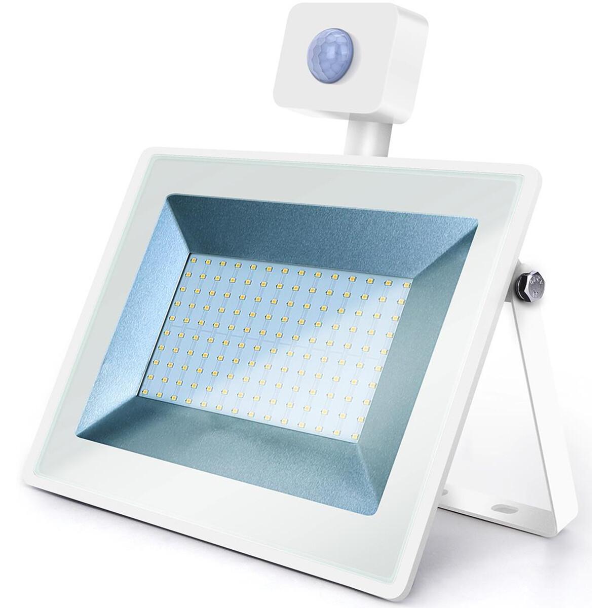 LED Bouwlamp 100 Watt met Sensor - LED Schijnwerper - Aigi Sunny - Natuurlijk Wit 4000K - Waterdicht