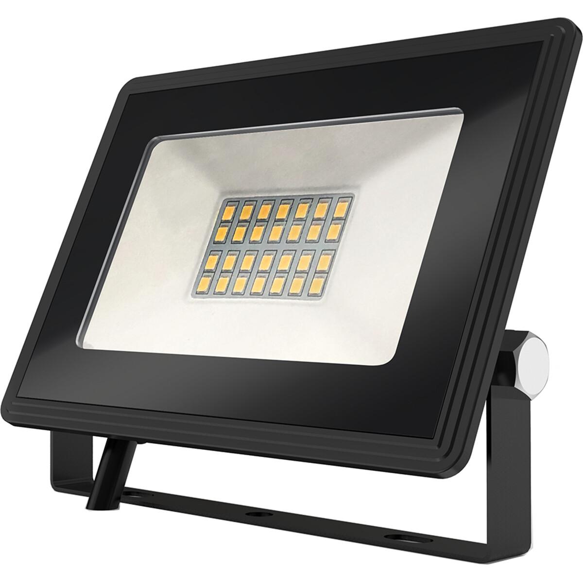 LED Bouwlamp 20 Watt - LED Schijnwerper - Aigi Iglo - Natuurlijk Wit 4000K - Waterdicht IP65 - Mat Zwart - Aluminium