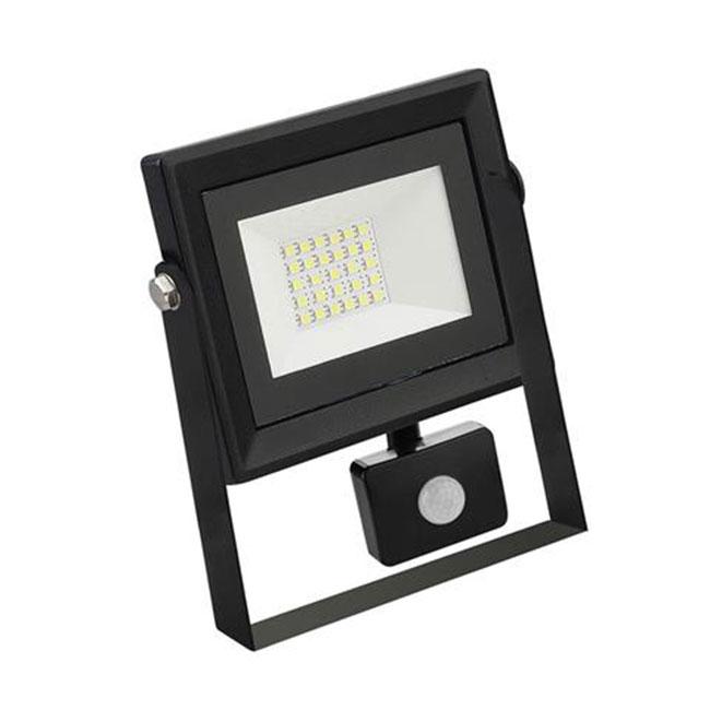 LED Bouwlamp 20 Watt met sensor - LED Schijnwerper - Pardus - Helder/Koud Wit 6400K - Waterdicht IP6
