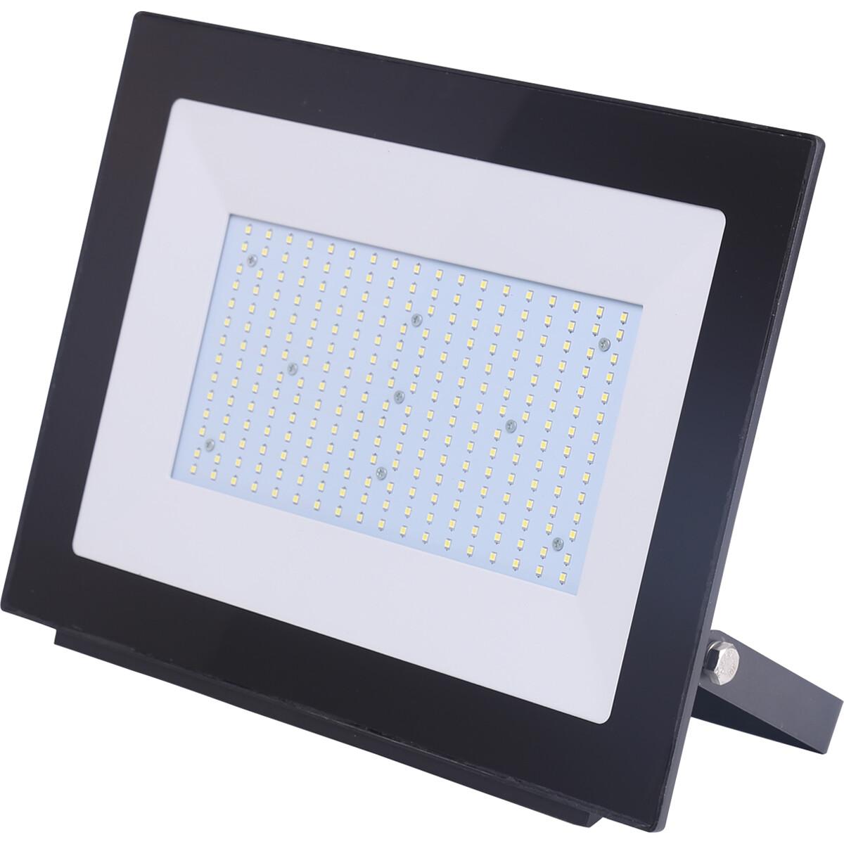 LED Bouwlamp 200 Watt - LED Schijnwerper - Aigi Iglo - Helder/Koud Wit 6400K - Waterdicht IP65 - Mat Zwart - Aluminium