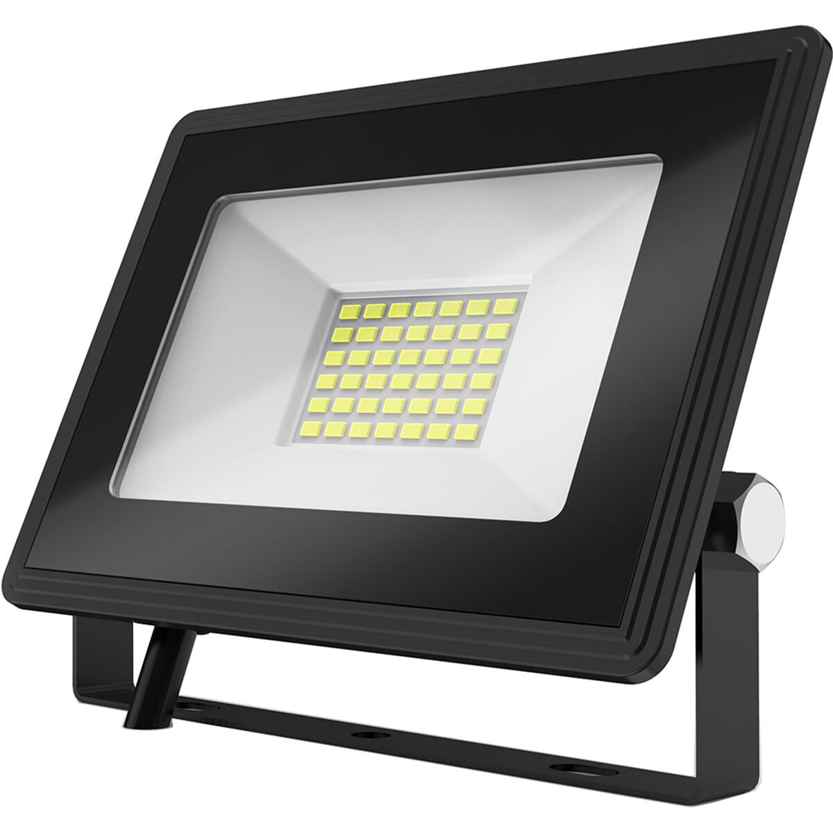 LED Bouwlamp 30 Watt - LED Schijnwerper - Aigi Iglo - Helder/Koud Wit 6400K - Waterdicht IP65 - Mat Zwart - Aluminium