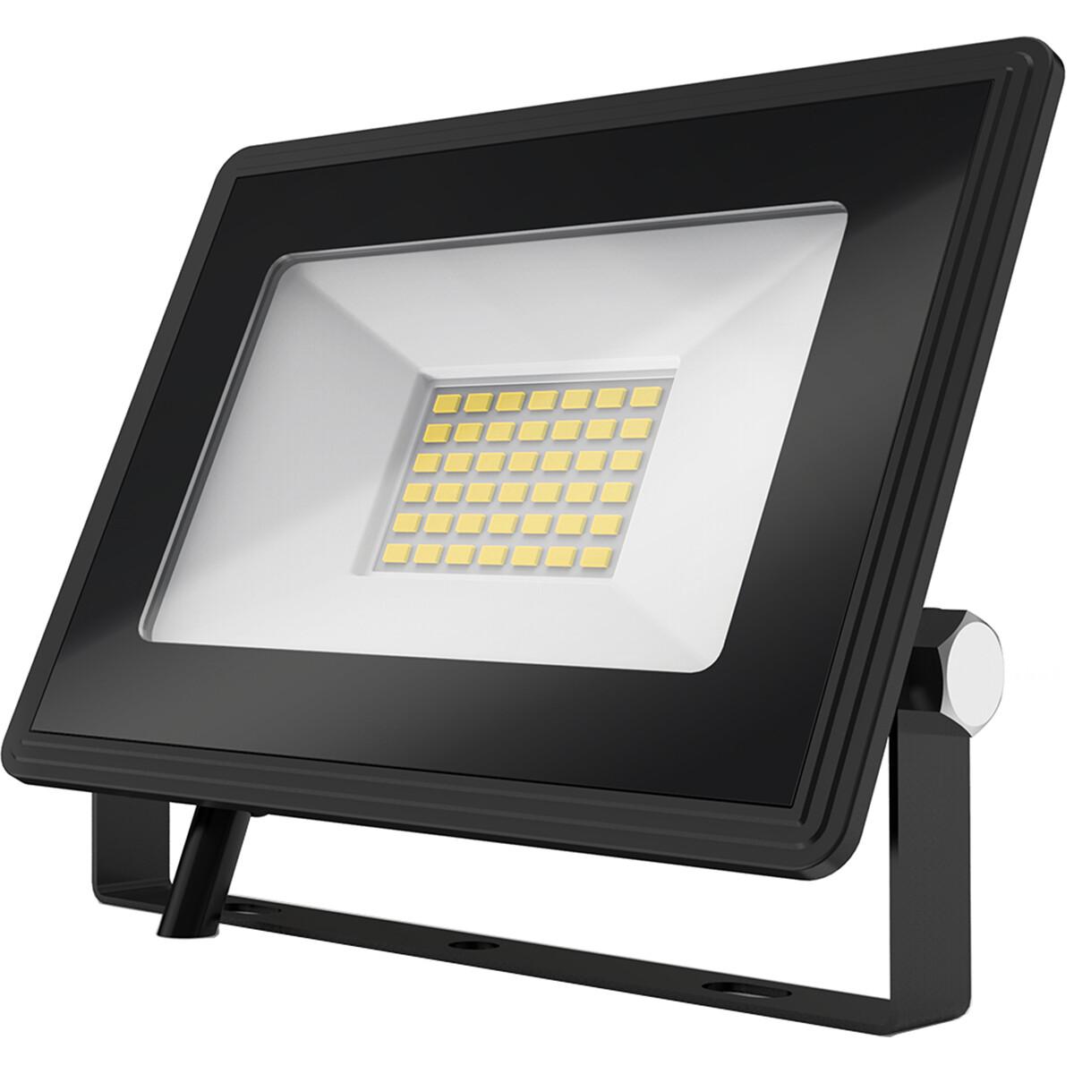 LED Bouwlamp 30 Watt - LED Schijnwerper - Aigi Iglo - Natuurlijk Wit 4000K - Waterdicht IP65 - Mat Zwart - Aluminium