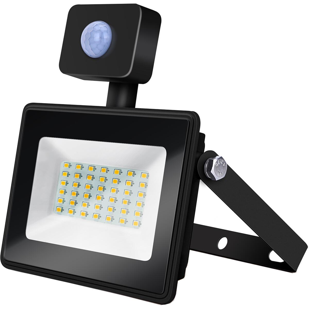 LED Bouwlamp 30 Watt met Sensor - LED Schijnwerper - Aigi Sunny - Natuurlijk Wit 4000K - Waterdicht