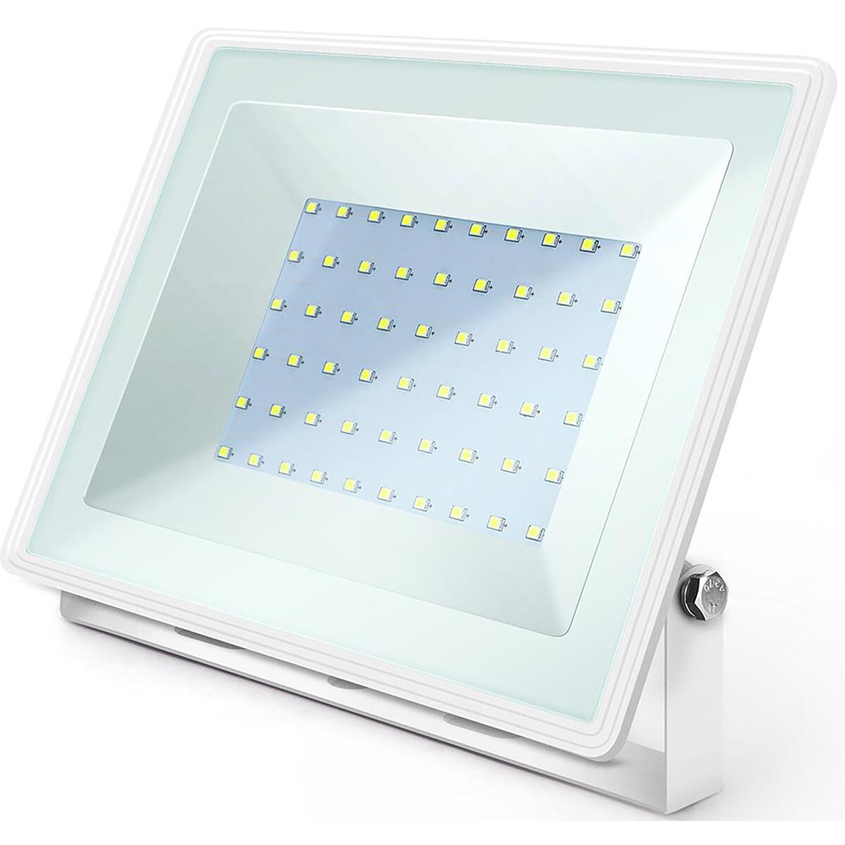 LED Bouwlamp 50 Watt - LED Schijnwerper - Aigi Iglo - Helder/Koud Wit 6400K - Waterdicht IP65 - Mat Wit - Aluminium