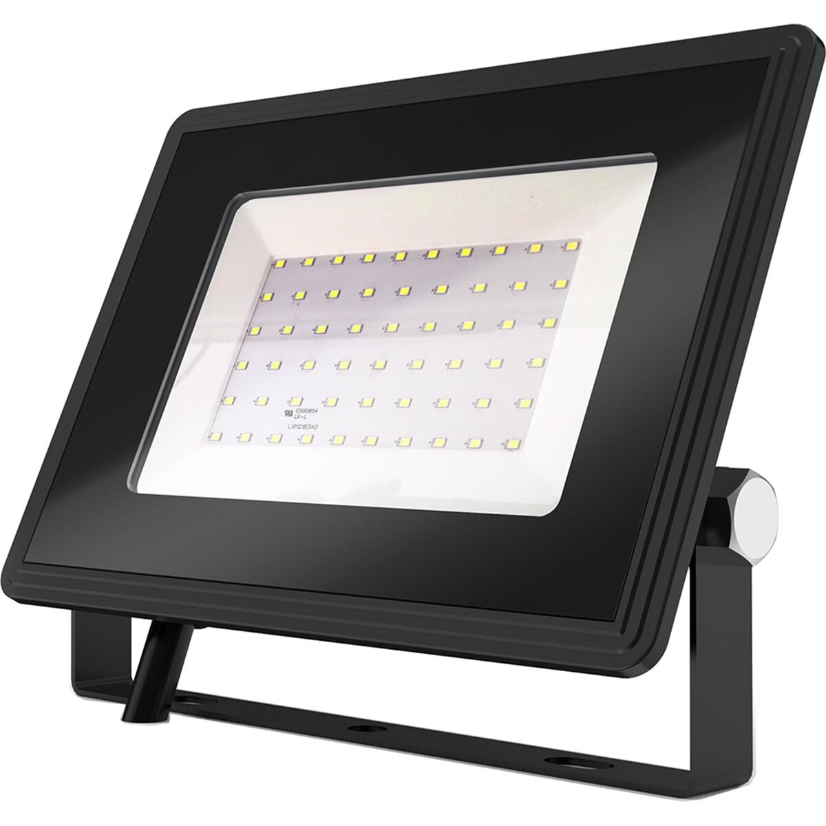 LED Bouwlamp 50 Watt - LED Schijnwerper - Aigi Iglo - Helder/Koud Wit 6400K - Waterdicht IP65 - Mat Zwart - Aluminium