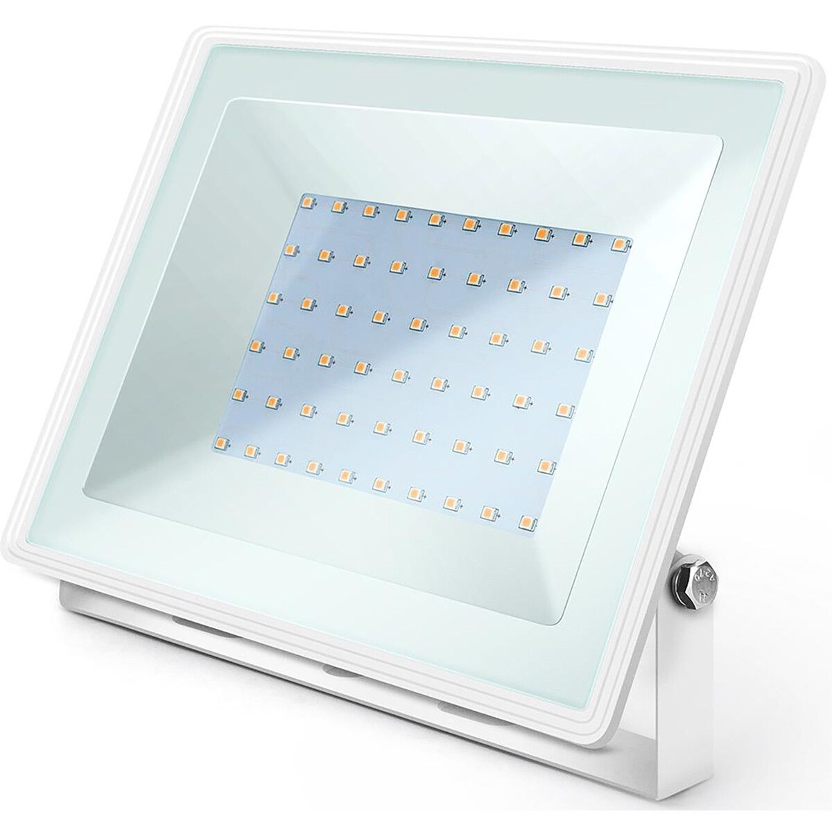 LED Bouwlamp 50 Watt - LED Schijnwerper - Aigi Iglo - Natuurlijk Wit 4000K - Waterdicht IP65 - Mat Wit - Aluminium