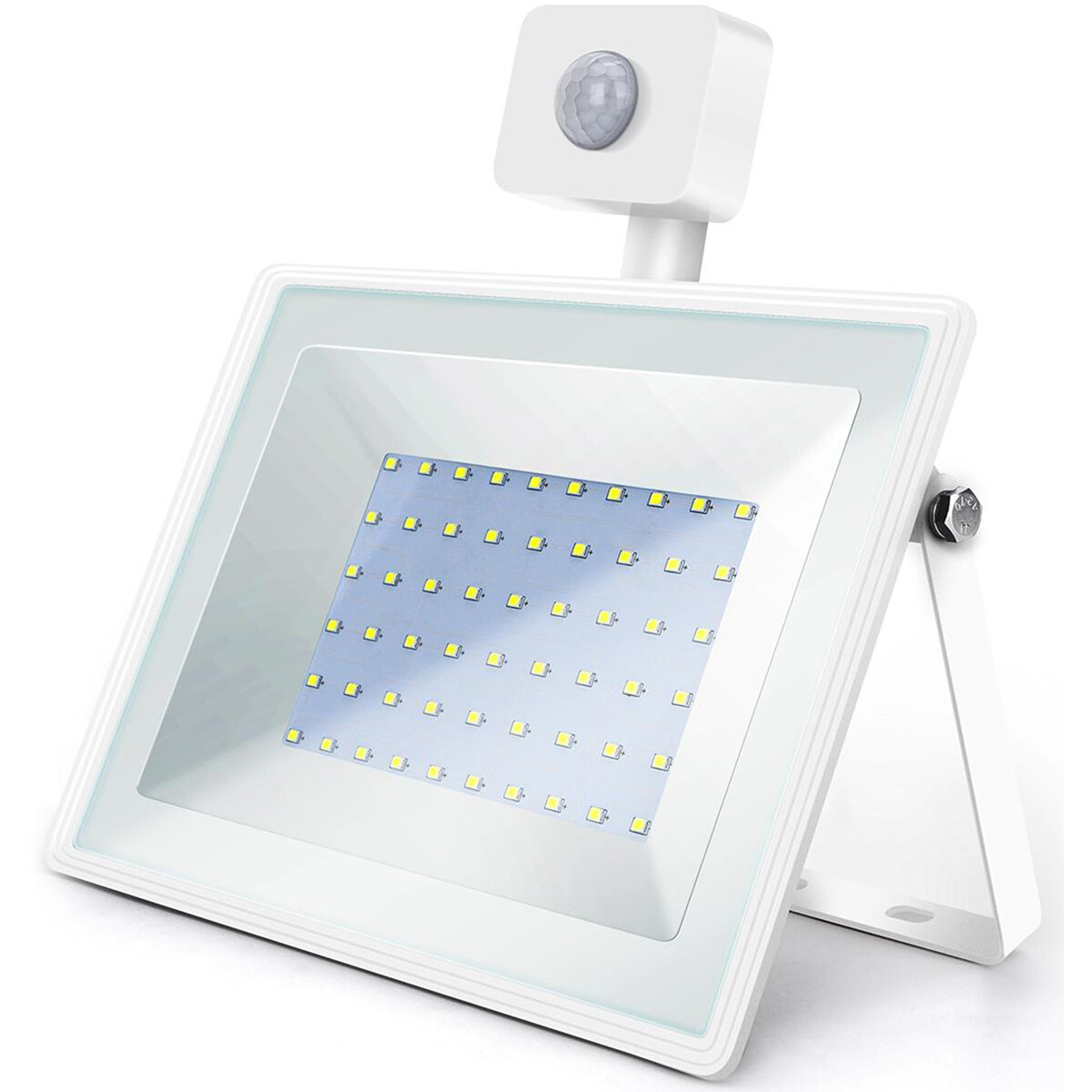 LED Bouwlamp 50 Watt met Sensor - LED Schijnwerper - Aigi Sunny - Helder/Koud Wit 6400K - Waterdicht