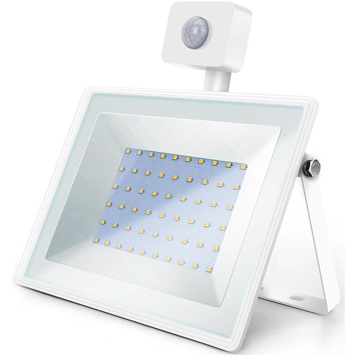 LED Bouwlamp 50 Watt met Sensor - LED Schijnwerper - Aigi Sunny - Natuurlijk Wit 4000K - Waterdicht