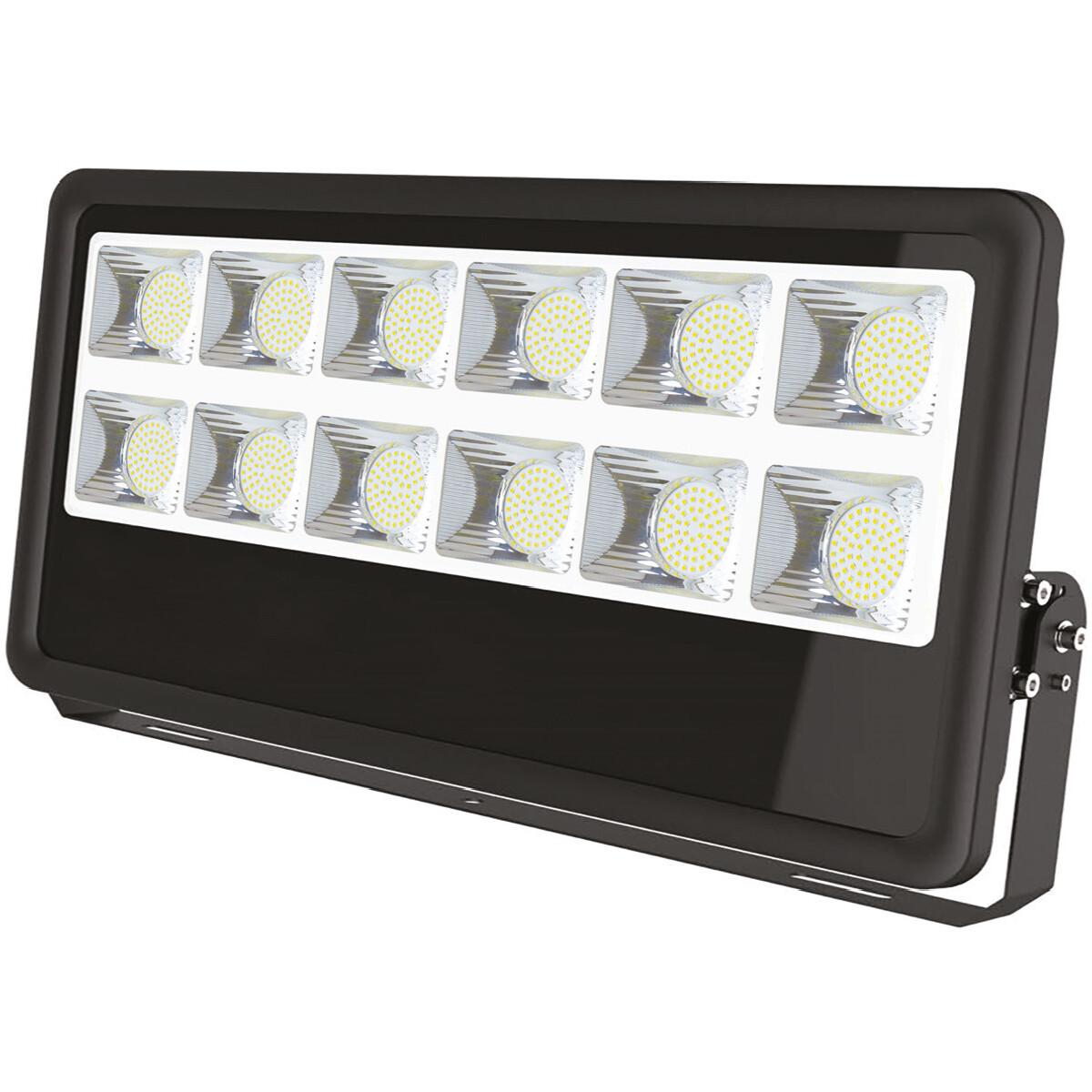 LED Bouwlamp 500 Watt - Leo - LED Schijnwerper - Helder/Koud Wit 6400K - Waterdicht IP65 - Mat Zwart
