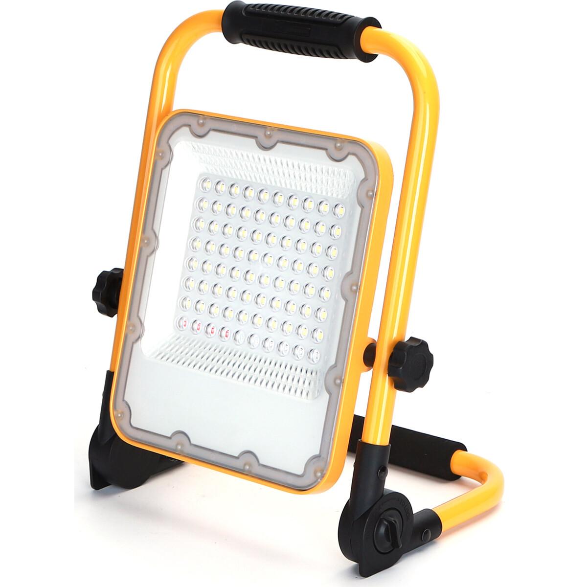 LED Bouwlamp op Accu met Statief - Aigi Worky - 50 Watt - Helder/Koud Wit 6500K - Waterdicht IP65 -