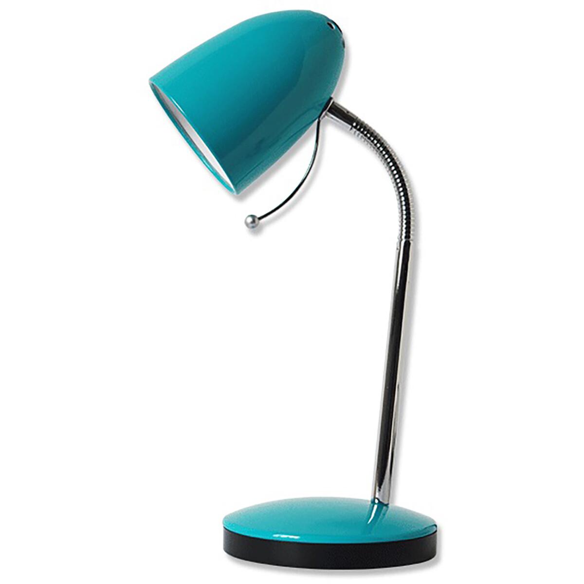 LED Bureaulamp - Aigi Wony - E27 Fitting - Flexibele Arm - Rond - Glans Blauw