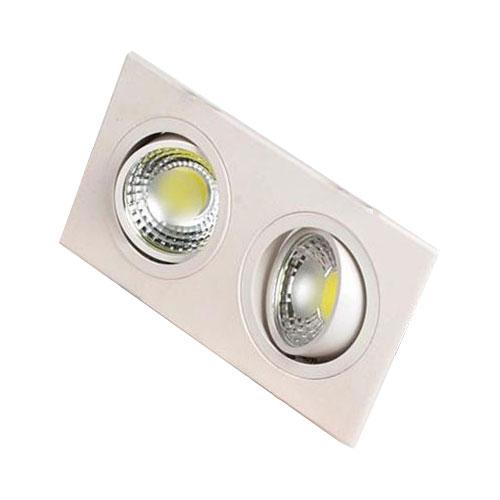 LED Spot - Inbouwspot Dubbel - Rechthoek 10W - Helder/Koud Wit 6400K - Mat Wit Aluminium - Kantelbaar 175x93mm