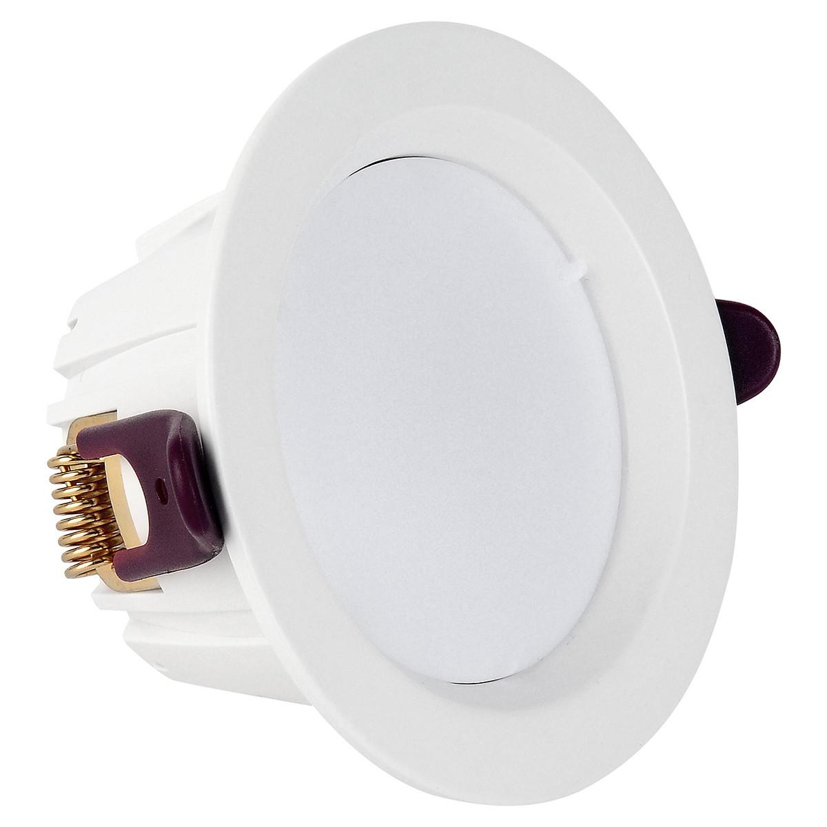 LED Downlight Lanar - Inbouw Rond 7W - Dimbaar - Natuurlijk 4000K - Mat Wit Aluminium Ø98mm